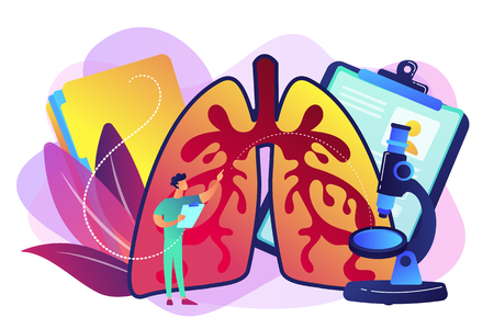 Doctor examines huge lungs desease and microscope. Obstructive pulmonary disease, chronic bronchitis and emphysema concept on white background. Bright vibrant violet vector isolated illustration Illusztráció