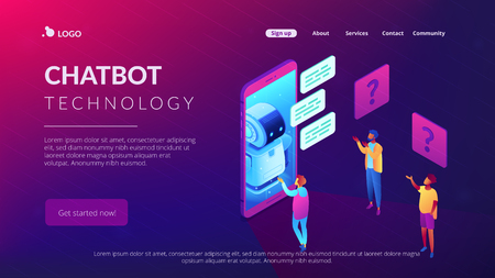 Users in front of huge mobile phone asking chatbot for help. Chatbot technology and online help center, mobile helper, voice assistant concept. Isometric 3D website app landing web page template Vector Illustration