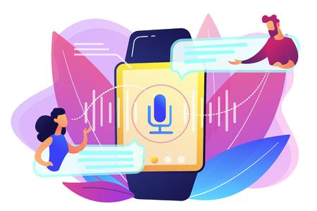 Users translating speech with smartwatch. Digital translator, portable translator, electronic language translator concept on white background. Bright vibrant violet vector isolated illustration Ilustração