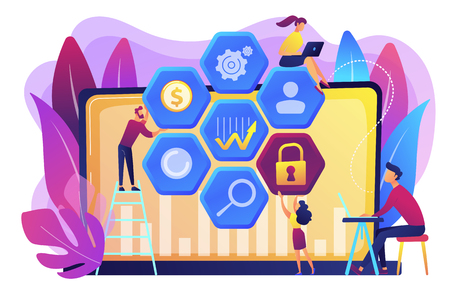 Cyber security risk analysts team reduce risks. Cyber security management, cyber security risk, management strategy concept on white background. Bright vibrant violet vector isolated illustration