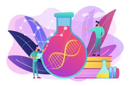 Scientifiques en laboratoire travaillant avec une énorme chaîne d'ADN dans l'ampoule de verre. Thérapie génique, transfert de gène et concept de gène fonctionnel sur fond blanc. Illustration isolée de vecteur violet vif lumineux