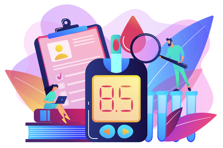 Doctor with magnifier and blood glucose testing meter. Diabetes mellitus, type 2 diabetes and insulin production concept on white background. Bright vibrant violet vector isolated illustration