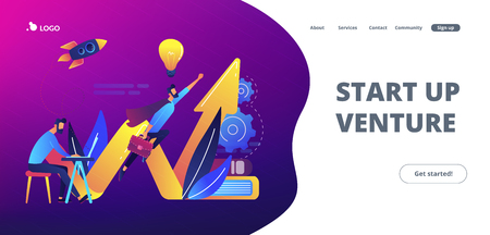 Businessman working and flying like superhero with briefcase. Start up launch, start up venture and entrepreneurship concept on white background. Website vibrant violet landing web page template.
