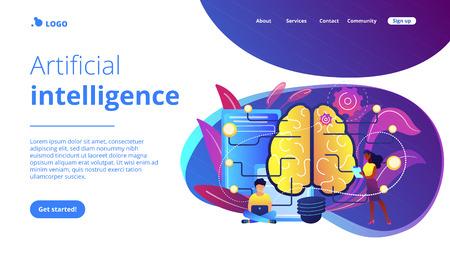 Gros cerveau avec circuit et programmeurs. Intelligence artificielle, apprentissage automatique et science des données, concept d'informatique cognitive sur fond blanc. Modèle de page Web d'atterrissage violet vibrant de site Web.