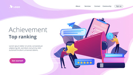 Megaphone and businessmen rate with stars and thumb up icons. Rank and rating scale, high-ranking, top-ranking concept on white background. Website vibrant violet landing web page template.