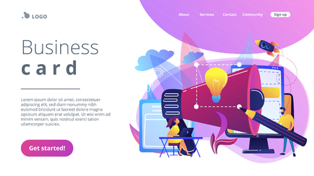 Designers work on new brand and big megaphone. Brand identity and logo, business card, advertisement and graphic design concept on white background. Website vibrant violet landing web page template.