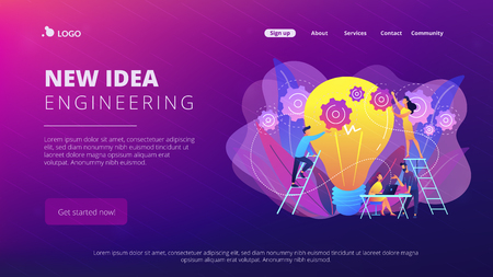 Business team putting gears on big lightbulb. New idea engineering, business model innovation and design thinking concept on white background. Website vibrant violet landing web page template.