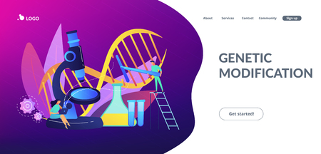 Microscope and scientists changing DNA structure. Genetic engineering, genetic modification and genetic manipulation concept on white background. Website vibrant violet landing web page template.