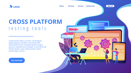 Tester and developer work with laptop and tablet. Cross platform bug founding, bug identification and testing team concept on white background. Website vibrant violet landing web page template. Vector Illustration