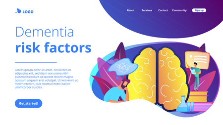 Patient with thought bubble and doctor examining brain. Alzheimer disease and dementia, dotage and memory loss concept on white background. Website vibrant violet landing web page template. Stock Illustratie