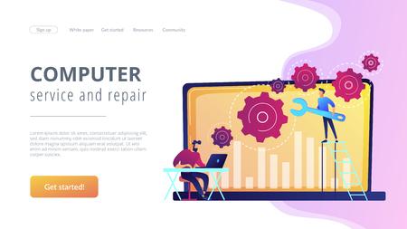 Les gars du support technique travaillent sur la réparation d'un matériel informatique et de logiciels. Dépannage, résolution des problèmes, concept de vérification des problèmes. Modèle de page Web d'atterrissage violet vibrant de site Web.