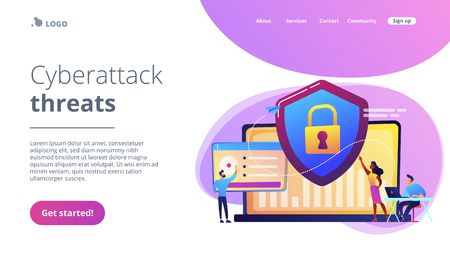 Security analysts protect internet-connected systems with shield. Cyber security, data protection, cyberattacks concept on white background. Website vibrant violet landing web page template.  イラスト・ベクター素材