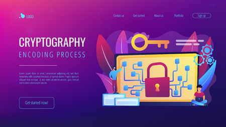 Cryptographic officer and system administrator create algorithm code for key owner of blockchain. Cryptography and encryption algorithm concept. Website vibrant violet landing web page template.