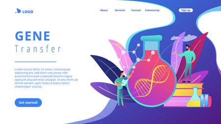 Scientists in lab working with huge DNA chain in the glass bulb. Gene therapy, gene transfer and functioning gene concept on white background. Website vibrant violet landing web page template.