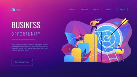 Businessman on top looking into telescope and employees. Business opportunity, bizopp and franchising, distribution concept on white background. Website vibrant violet landing web page template.