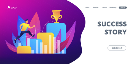 Businessman jumps on graph columns on the way to success. Positive thinking and success achievement, self-confidence concept on white background. Website vibrant violet landing web page template.
