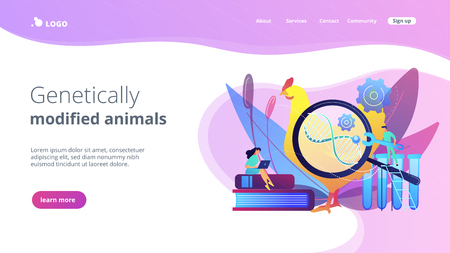 Scientists working with huge DNA of a chicken. Genetically modified animals, genetically modified animal experiments concept on white background. Website vibrant violet landing web page template.