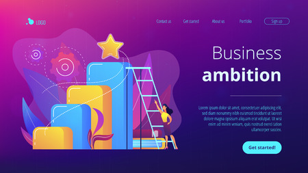 Businessman and woman start climbing ladder. Business and career ambition, career aspirations and plans, personal growth concept on white background. Website vibrant violet landing web page template.