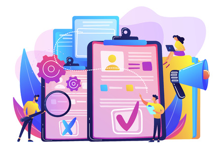 Company hr managers hiring a new employee using resume, magnifier and megaphone. Hiring employee, filling out resume, hiring process concept. Bright vibrant violet vector isolated illustration  イラスト・ベクター素材