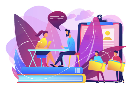 HR specialist having an interview with job applicant and candiadates waiting. Job interview, employment process, choosing a candidate concept. Bright vibrant violet vector isolated illustration