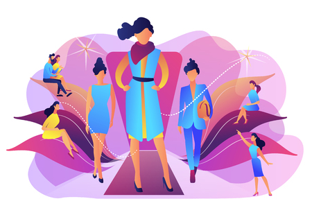 Designers display latest collection in runway fashion show to buyers and media. Fashion week, fashion industry event, runway fashion show concept. Bright vibrant violet vector isolated illustration Illustration
