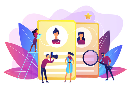 Modeling agency manager and photographer take photos of model for portfolio. Modeling agency, fashion model agent, modeling company services concept. Bright vibrant violet vector isolated illustration Векторная Иллюстрация