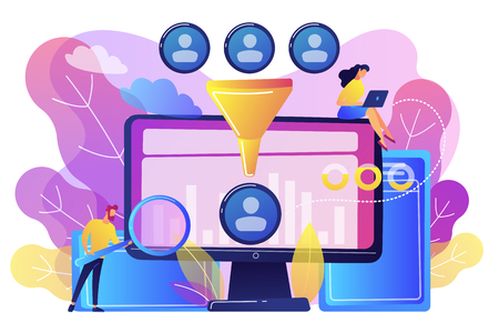 Data scientist and specialist extract knowledge and insights from data. Data science analytics, machine learning control, big data analytics concept. Bright vibrant violet vector isolated illustration Illusztráció