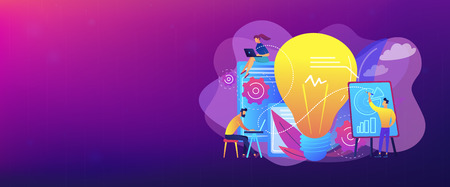 Business people analyzing and lightbulb. Competitive intelligence and environment, information and marketplace analysis concept on white background. Header or footer banner template with copy space. 일러스트