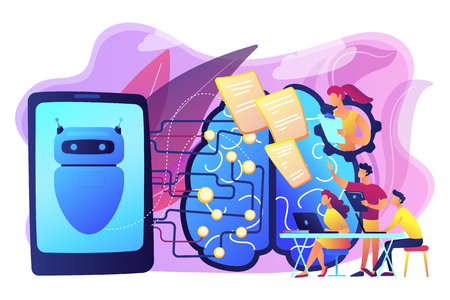 Programmers testing chatbot intelligence and brain with circuit. Chatbot Turing test, intelligent behavior, human-like response concept. Bright vibrant violet vector isolated illustration  イラスト・ベクター素材