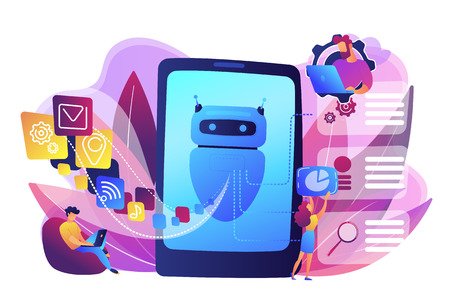 Programmers and chatbot processing natural language. Natural language processing, chatbot natural language, natural language scince concept. Bright vibrant violet vector isolated illustration