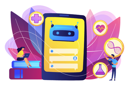 Medical chatbot gives healthcare consultation to patient. Chatbot healthcare use, artificial intelligence caregiver, anonymous consultation concept. Bright vibrant violet vector isolated illustration
