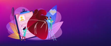 Doktor mit Stethoskop, der auf einen riesigen Herzschlag hört. Ischämische Herzkrankheit, Herzkrankheit und koronare Herzkrankheit Konzept auf weißem Hintergrund. Kopf- oder Fußzeilen-Banner-Vorlage mit Kopienraum.