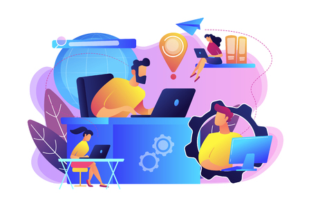 Freelancers team work with laptops connected by global network. Global network, world device connection, global communication service concept. Bright vibrant violet vector isolated illustration Ilustrace