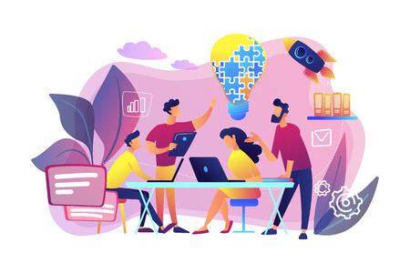 Geschäftsteam-Brainstorming-Idee und Glühbirne aus Puzzle. Zusammenarbeit im Team, Zusammenarbeit im Unternehmen, Konzept der gegenseitigen Unterstützung der Kollegen. Helle, lebendige violette Vektor-isolierte Illustration