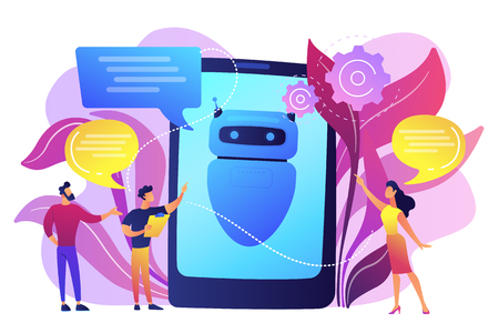 Business people communicate with chatbot application. Chatbot artificial intelligence, talkbots service, interactive agent support concept. Bright vibrant violet vector isolated illustration 向量圖像