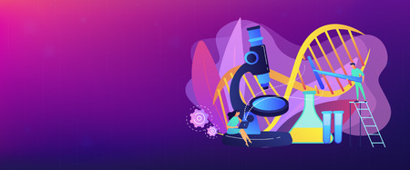 Microscope and scientists changing DNA structure. Genetic engineering, genetic modification and genetic manipulation concept on white background. Header or footer banner template with copy space. Ilustrace