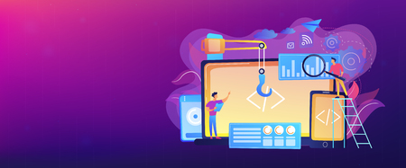 Engineer and developer with laptop and tablet code. Cross-platform development, cross-platform operating systems and software environments concept. Header or footer banner template with copy space.