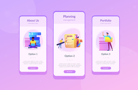 People feel in check boxes in to do list. Project task management it concept. Software development process and project management activities. Violet palette. Mobile UI UX app interface template. Illustration