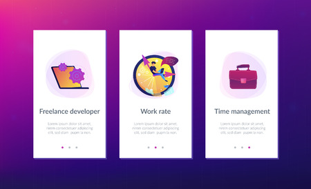 A freelance developer sitting on the clock hands with a laptop. Time management, productivity, efficiency, work rate, perfomance concept, violet palette. Mobile UI UX app interface template. Illustration