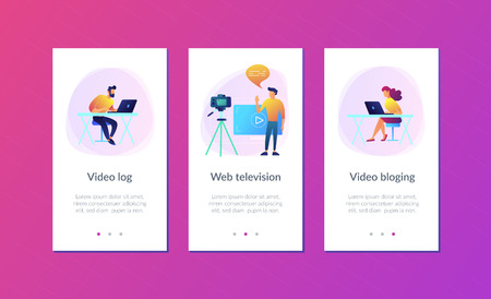 A man in front of camera recording a video to share it in internet. Vloger shares a bradcast in blog or video log. Video bloging, web television or embedded video concept. App interface template. Ilustração