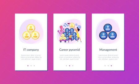 People building career pyramid with chief executive officer CEO on the top. Highest ranking manager, managing director in the IT company. IT team management concept. Mobile UI UX app interface template.
