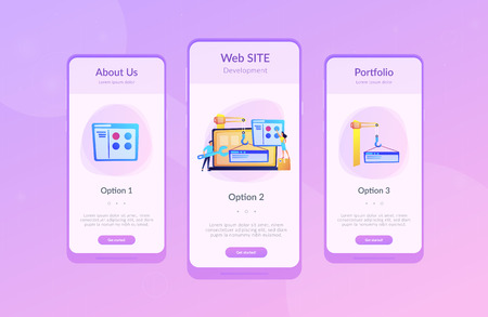 It professionals are creating web site on the laptop screen. Website development or web application, coding, designing for web browsers concept. Violet palette. Mobile UI UX app interface template. Illusztráció