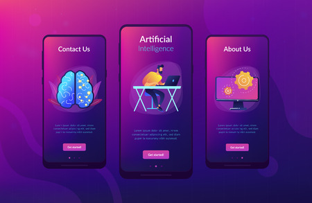 Brain with digital circuit and programmer with laptop. Machine learning, artificial intelligence, digital brain and artificial thinking process concept, violet palette. App interface template.  イラスト・ベクター素材
