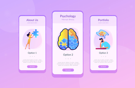 Man doing human brain puzzle. Psychology and psychotherapy landing page. Mental healing and wellbeing, therapist counselling, mental difficulties. UI UX GUI app interface template.