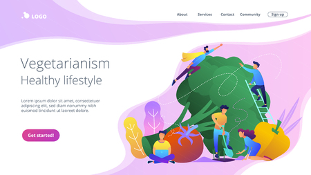 Vegetarianism and healthy lifestyle landing page. Stok Fotoğraf