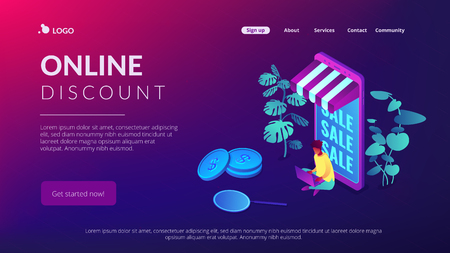 Discount online concept Isometric 3D landing page.