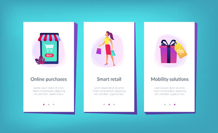 Smart retail in smart city app interface template. Stockfoto