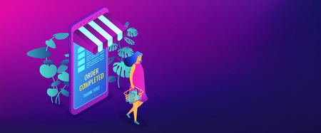 Female shopper buying with huge smartphone and online order completed. Online shopping and order confirm, online shopping cart and ecommerce concept. Isometric 3D banner header template copy space. Illustration
