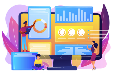 Business analysts performing idea management on computer screen. Innovation management software, brainstorming tools, inovation IT control concept. Bright vibrant violet vector isolated illustration  イラスト・ベクター素材