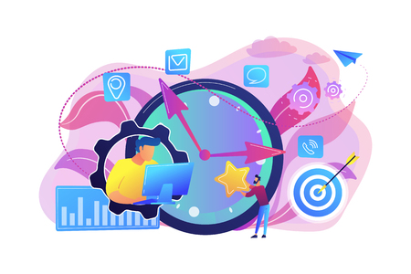 Businessman trying to accomplish tasks and goals on time and big clock and computer. Time management, effective time spending, time planning concept. Bright vibrant violet vector isolated illustration